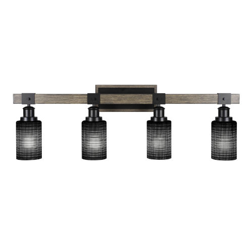 Tacoma Matte Black and Distressed Wood-lock Metal 12-Inch Four-Light Bath Light with Black Matrix Shade