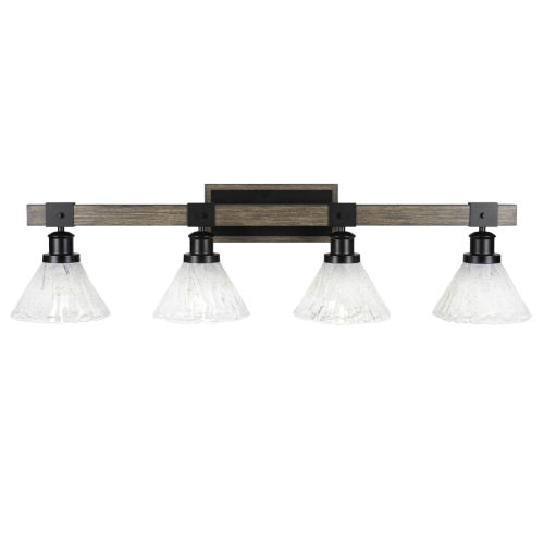 Tacoma Matte Black and Distressed Wood-lock Metal 38-Inch Four-Light Bath Light with Italian Ice Shade