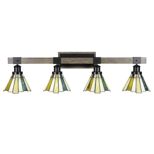 Tacoma Matte Black and Distressed Wood-lock Metal 38-Inch Four-Light Bath Light with Sequoia Art Glass Shade