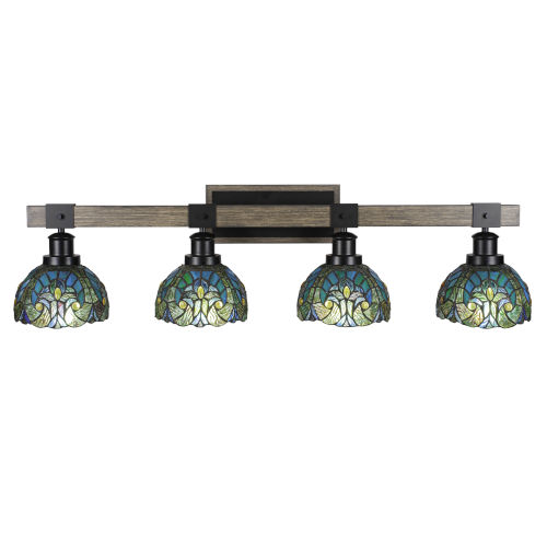 Tacoma Matte Black and Distressed Wood-lock Metal 38-Inch Four-Light Bath Light with Turquoise Cypress Art Glass Shade