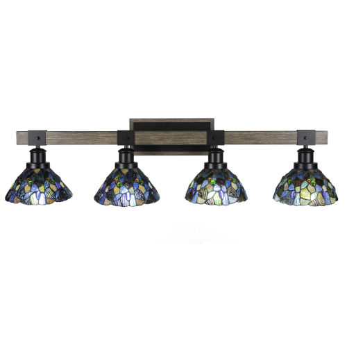 Tacoma Matte Black and Distressed Wood-lock Metal 39-Inch Four-Light Bath Light with Blue Mosaic Art Glass Shade