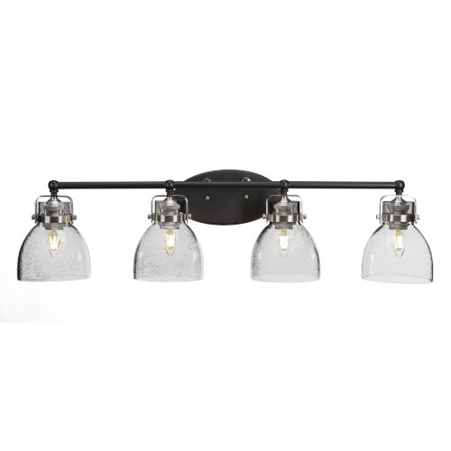 Easton Matte Black and Brushed Nickel Four-Light Bath Vanity