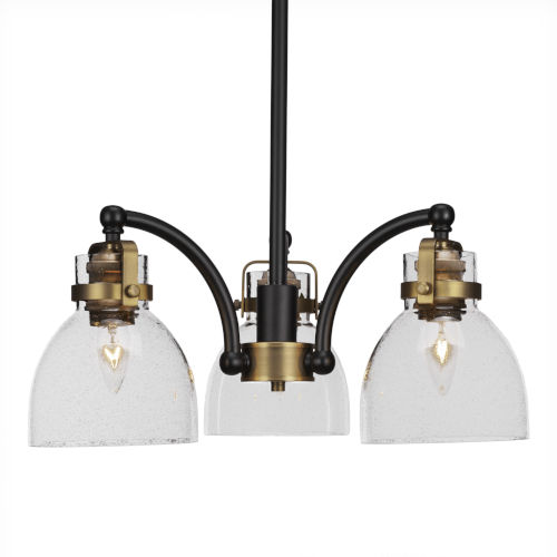 Easton Matte Black and Brass 18-Inch Three-Light Chandelier with Black Bubble Shade