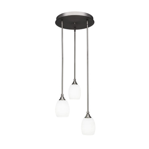 Empire Brushed Nickel 15-Inch Three-Light Cluster Pendant