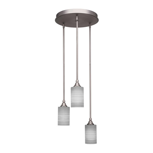 Empire Brushed Nickel Three-Light Mini Pendant with Gray Glass