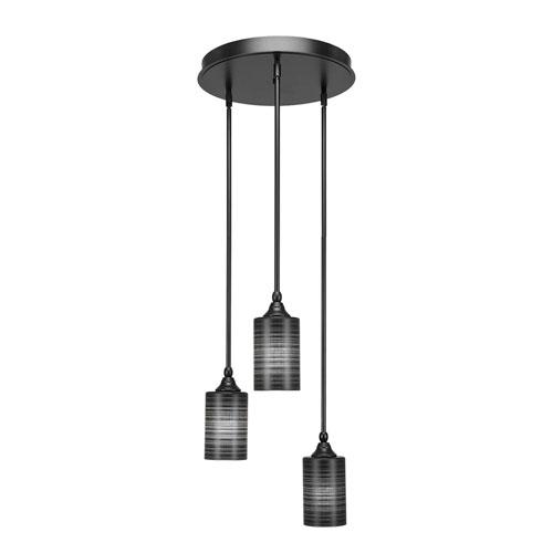 Empire Matte Black 18-Inch Three-Light Mini Pendant with Black Matrix Glass