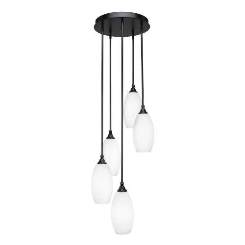 Empire Matte Black 15-Inch Five-Light Cluster Pendant with White Matrix Glass