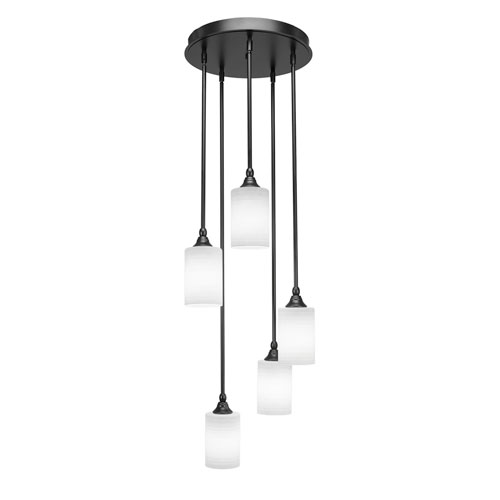 Empire Matte Black 14-Inch Five-Light Mini Pendant with Cylinder Glass Shades