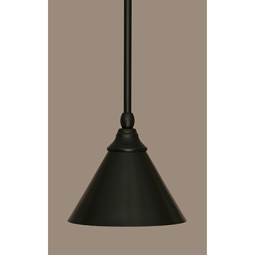 Toltec Lighting Any Matte Black Seven-Inch One-Light Mini Pendant with Matte Black Shade