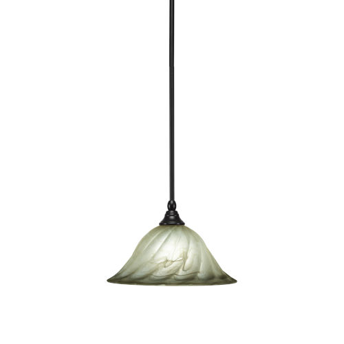 Any Matte Black 12-Inch One-Light Pendant with Rosetta Glass