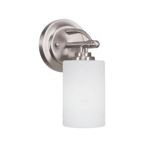 Toltec Lighting Marquise Brushed Nickel One-Light Wall Sconce with White Muslin Glass