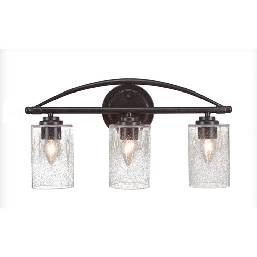 Toltec Lighting Marquise Dark Granite Three-Light Bath Vanity with Clear Bubble Glass