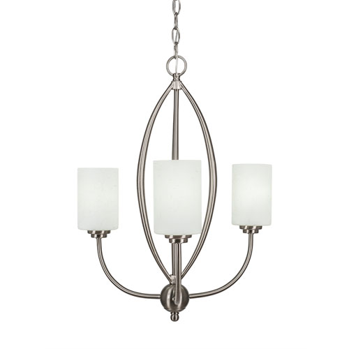 Toltec Lighting Marquise Brushed Nickel Three-Light Chandelier with White Muslin Glass