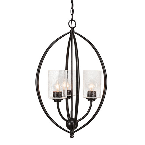 Toltec Lighting Marquise Dark Granite Three-Light Chandelier with Clear Bubble Glass