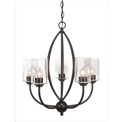 Marquise Dark Granite Five-Light Chandelier with Clear Bubble Glass