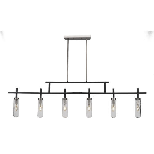 Salinda Matte Black and Brushed Nickel Six-Light Island Chandelier with Clear Bubble Glass