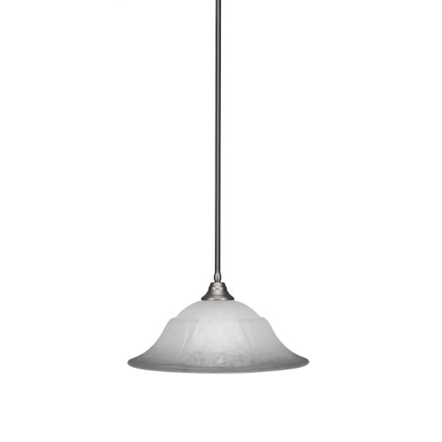Any Brushed Nickel 20-Inch One-Light Pendant with White Marble Glass