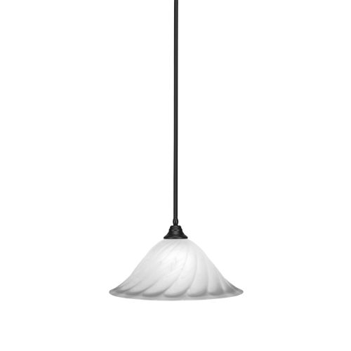 Any Matte Black 20-Inch One-Light Pendant with White Alabaster Swirl Glass