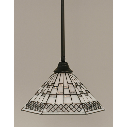 Any Matte Black 16-Inch One-Light Pendant with Pewter Tiffany Glass