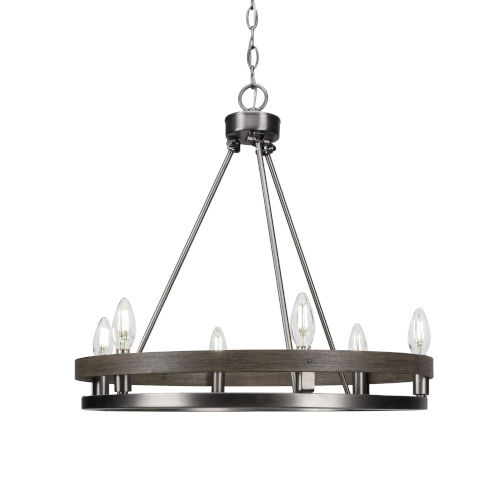 Belmont Graphite and Distressed Wood Six-Light Chandelier