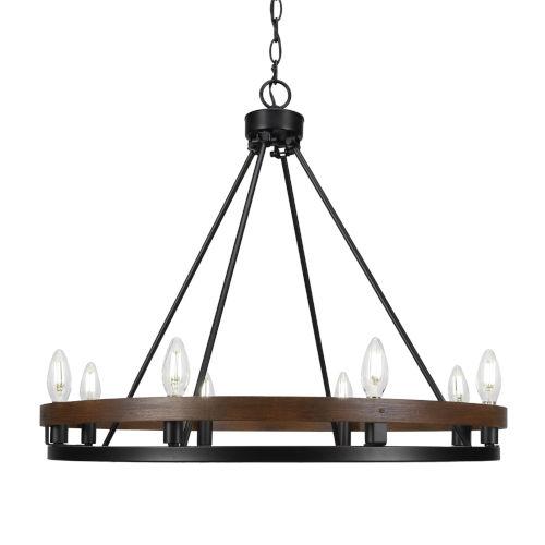 Belmont Matte Black and Wood Grain Eight-Light 27-Inch Chandelier
