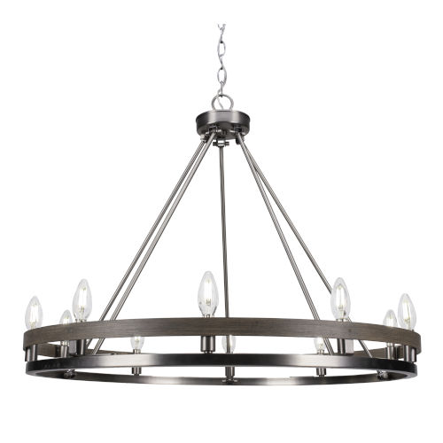 Belmont Graphite and Distressed Wood 10-Light Chandelier