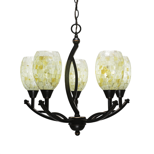 Bow Black Copper 20-Inch Five-Light Chandelier with Ivory Glaze Seashell