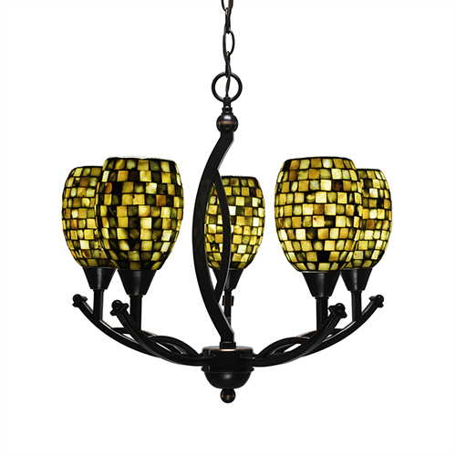 Bow Black Copper 20-Inch Five-Light Chandelier with Sea Haze Seashell