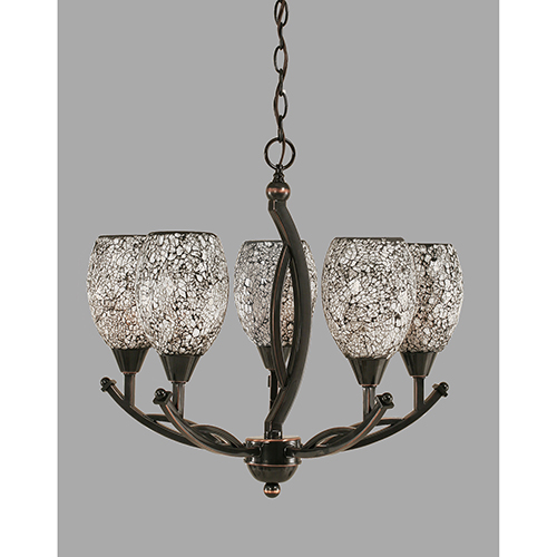 Bow Black Copper 20-Inch Five-Light Chandelier with Black Fusion