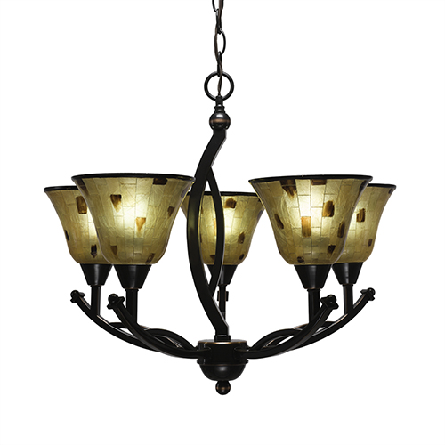 Bow Black Copper 22-Inch Five-Light Chandelier with Penshell Resin