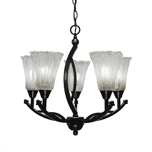 Bow Black Copper 21-Inch Five-Light Chandelier with Italian Ice Glass