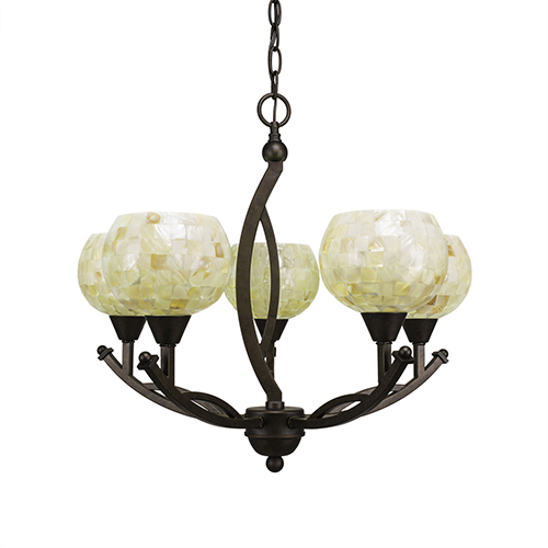 Toltec Lighting Bow Bronze 21-Inch Five-Light Chandelier with Mystic Seashell
