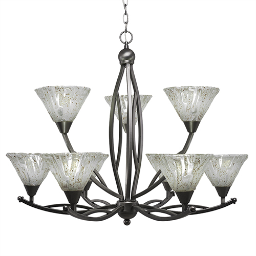 Bow Brushed Nickel 33-Inch Nine-Light Chandelier with Italian Ice Glass