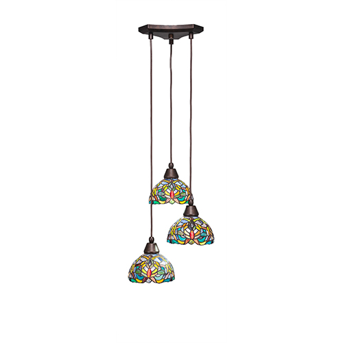 Europa Bronze 14-Inch Three-Light Pendant with Kaleidoscope Tiffany Glass