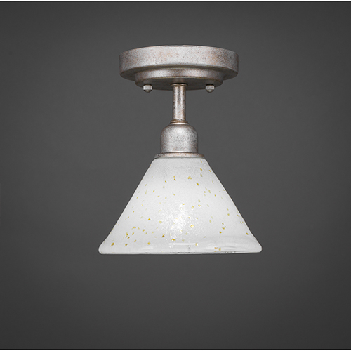 Vintage Aged Silver Seven-Inch One-Light Semi Flush Mount with Gold Ice Glass