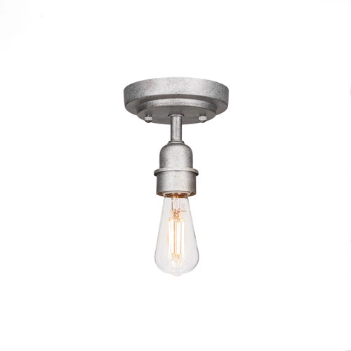 Vintage Aged Silver Two-Inch LED Semi-Flush