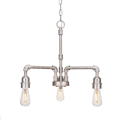 Vintage Aged Silver 17-Inch LED Chandeliers