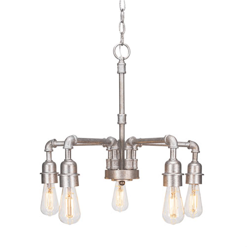 Vintage Aged Silver 20-Inch LED Chandeliers