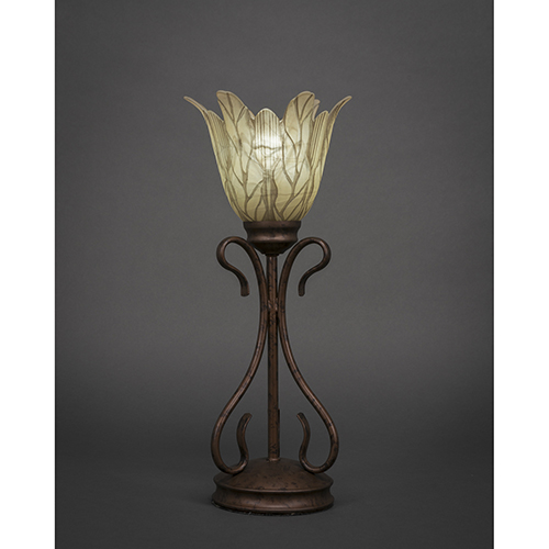 Swan Bronze Seven-Inch One-Light Table Lamp with Vanilla Leaf Glass