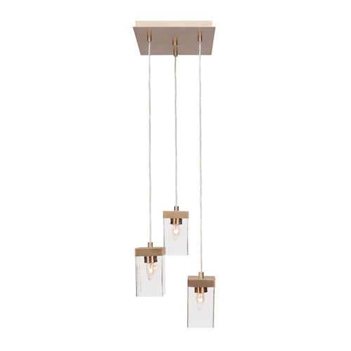 Toltec Lighting Nouvelle New Age Brass 13-Inch Three-Light Pendant with Clear Bubble Glass