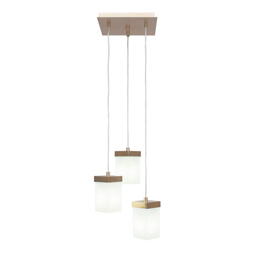 Toltec Lighting Nouvelle New Age Brass 13-Inch Three-Light Pendant with White Muslin Glass