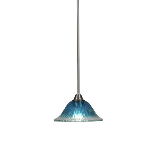 Paramount Brushed Nickel One-Light 10-Inch Pendant with Teal Crystal Glass