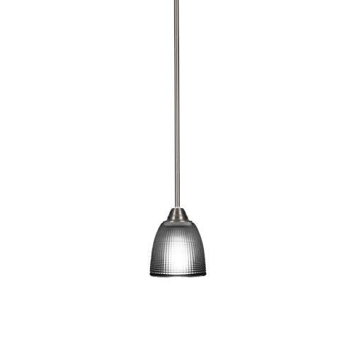 Paramount Brushed Nickel One-Light 5-Inch Mini Pendant with Clear Ribbed Glass