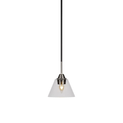 Paramount Matte Black and Brushed Nickel Seven-Inch One-Light Mini Pendant with Clear Bubble Glass Shade