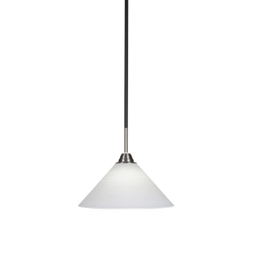 Paramount Matte Black and Brushed Nickel 12-Inch One-Light Pendant with White Matrix Glass Shade