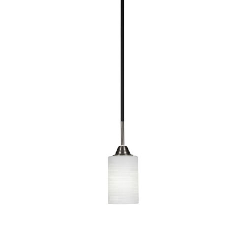 Paramount Matte Black and Brushed Nickel One-Light Mini Pendant with White Matrix Glass Shade
