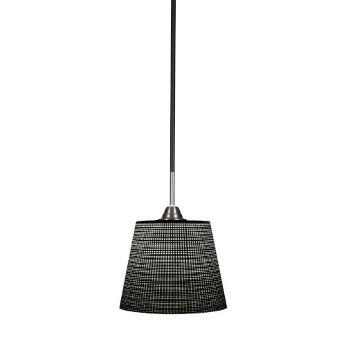 Paramount Matte Black and Brushed Nickel One-Light Pendant with Black Matrix Glass Shade