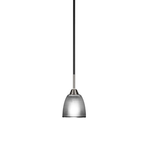Paramount Matte Black and Brushed Nickel One-Light Mini Pendant with Clear Ribbed Glass Shade