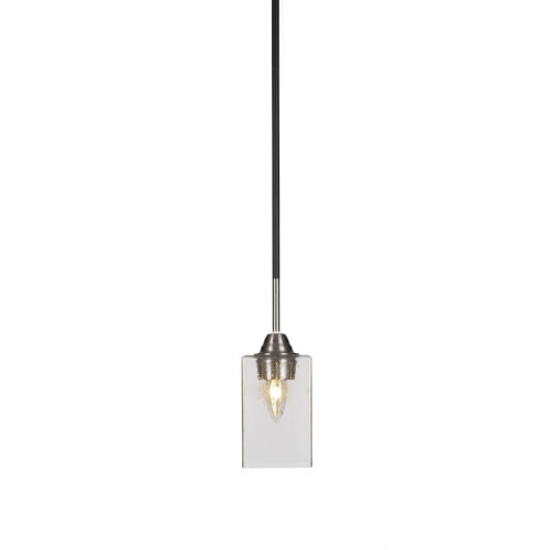 Paramount Matte Black and Brushed Nickel Four-Inch One-Light Mini Pendant with Clear Bubble Glass Shade