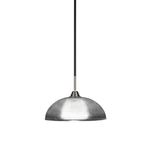 Paramount Matte Black and Brushed Nickel One-Light Pendant with Clear Ribbed Glass Shade